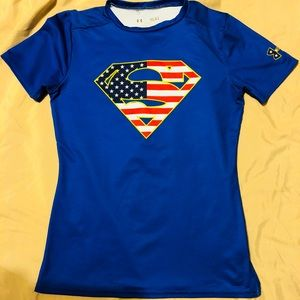 Under Armour Dry Fit Blue Superman Boys Youth L